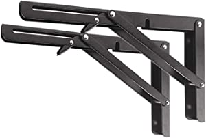 "Folding Shelf Brackets 12"", Collapsible Heavy-Duty Metal, Space Saving for Garage, Kitchen, Workshop, Storeroom. Max Load 330lb."