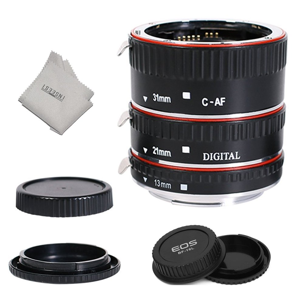 INSEESI Lens Extender Auto Focus Close up Macro Extension Tube for Canon EOS Cameras Rebel t6, t6i, 80d, t7i, 5d mark iv,6d mark ii by INSEESI