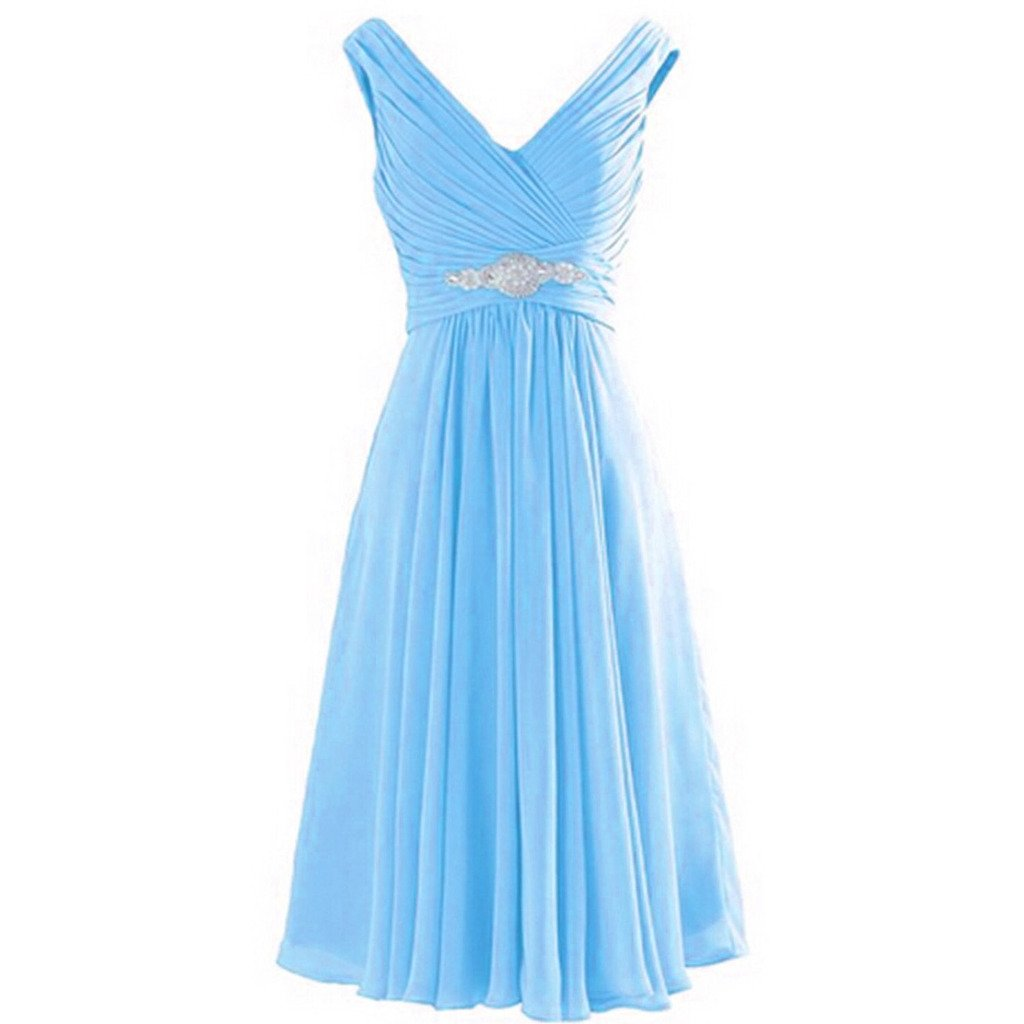 Baby bluee Kivary Short Knee Length A Line V Neck Prom Dresses Wedding Party Cocktail Gowns
