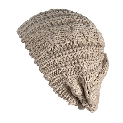 eb1689d2fd3 Senchanting(TM) Beige Women Lady Beanie Crochet Hat Fashion Winter Warm Knit  Wool Beanie