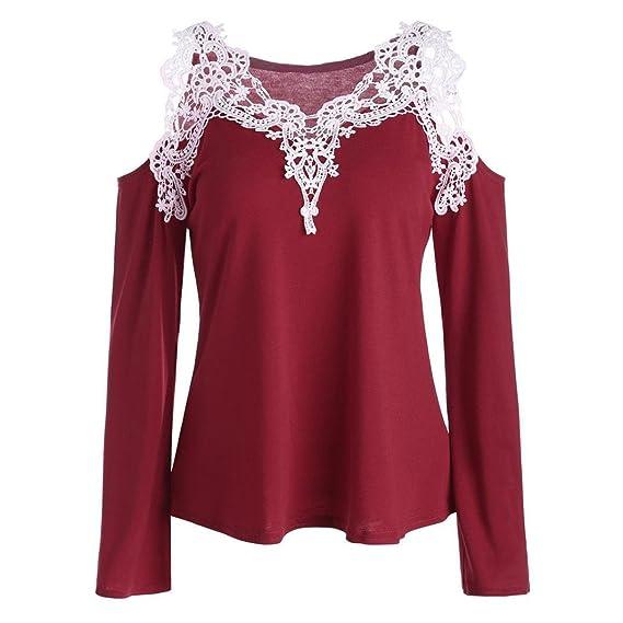 CICIYONER Blusa de Las Mujeres Ocasionales del Hombro del Color Frío Apliques de Encaje de la Blusa de la Camiseta: Amazon.es: Ropa y accesorios