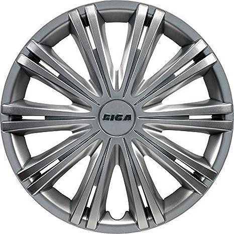Giga - Set de 4 tapacubos de 15 pulgadas para Audi, Ford, VW, Smart, color plateado: Amazon.es: Coche y moto
