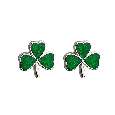 0b57a1f82 Amazon.com: Failte Shamrock Earrings Sterling Silver Studs & Enamel Irish  Made: Jewelry