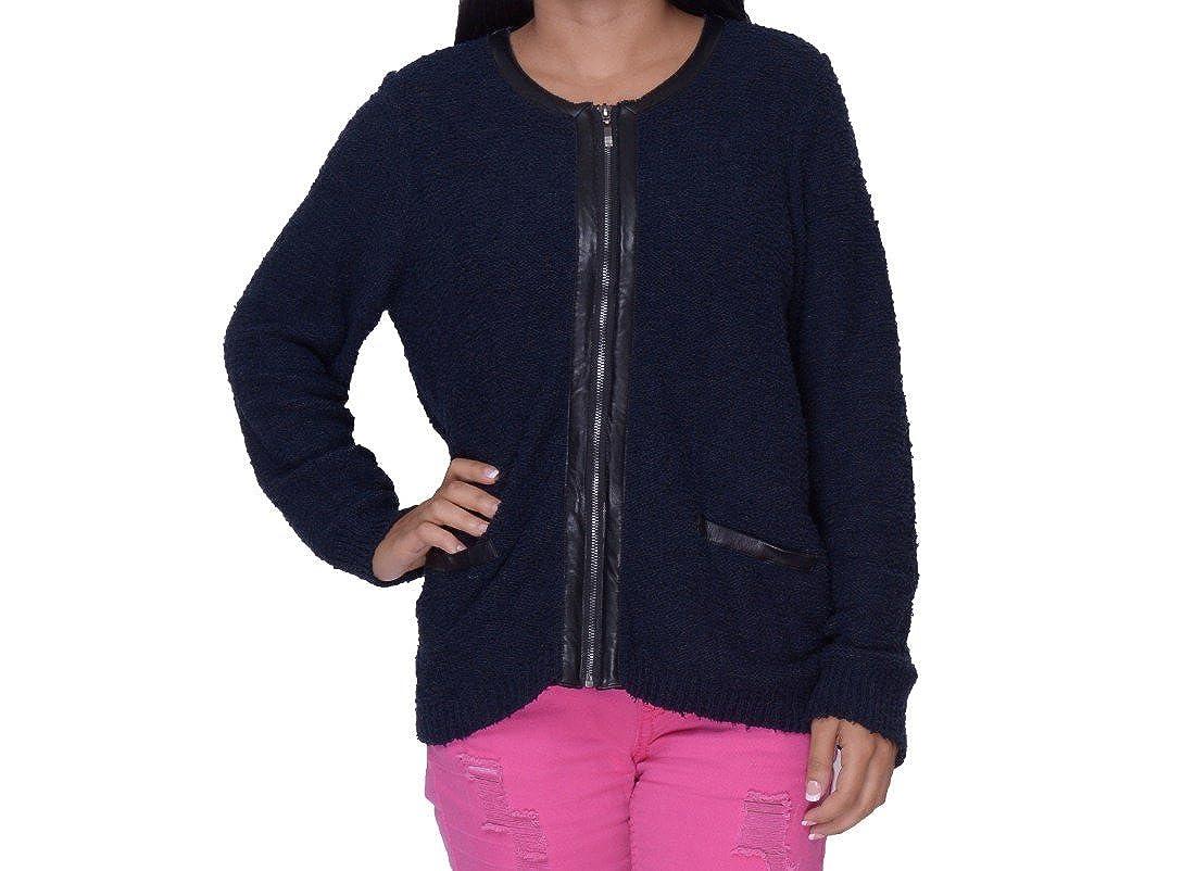 Alfani Women's Faux Leather Trim Zip-Front Boucle Jacket