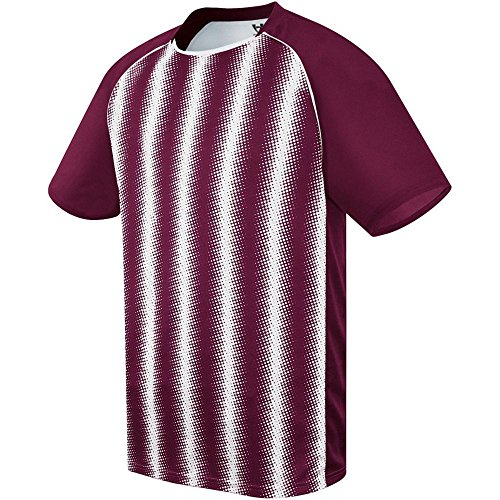 Averill's Sharper Uniforms Unisex Youth/Adult Zebra Striped Soccer Jersey, Maroon/White, Youth XS