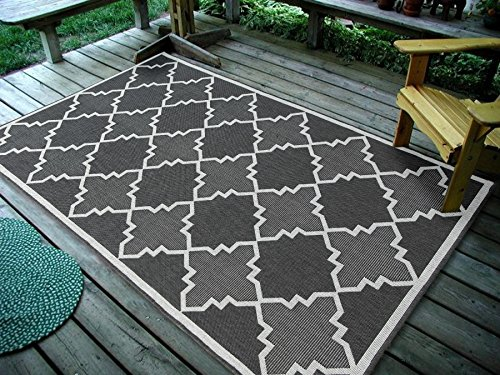 Furnish my Place Contemporary Geometric Trellis, Indoor and Outdoor Area Rug, Easy to Clean, UV Protected and Fade Resistant 1095, Grey