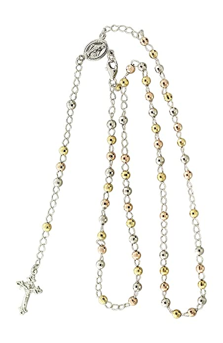 Massiver Rosenkranz Silber 925 Gold oder Rotgold Kette Silberkette Rosario Kreuz