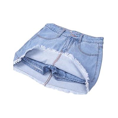 Abetteric Women's Bodycon Underskirts High Waisted Fringed Sanding Culottes Denim Shorts Light Blue L