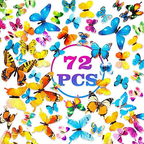 PGFUN Mariposa luminosa 72pcs Colorido Pegatina de pared 3D mural de Arte Artesania bricolaje Removible pegatinas…