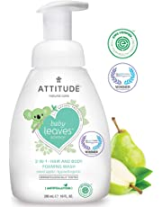 ATTITUDE Baby Leaves, Hypoallergenic 2 in 1 Shampoo & Body Foaming Wash, Sweet Apple, 10 Fluid Ounce
