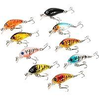 JSMeet 9pcs 4.5cm/4g Hard Bait Minnow Lure Fishing