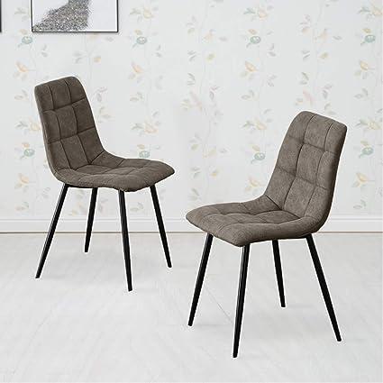 Terrific Tukailai Set Of 2 Grey Fabric Dining Chairs Soft Seat Living Download Free Architecture Designs Rallybritishbridgeorg