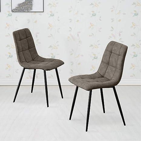 Awe Inspiring Tukailai Set Of 2 Grey Fabric Dining Chairs Soft Seat Living Andrewgaddart Wooden Chair Designs For Living Room Andrewgaddartcom