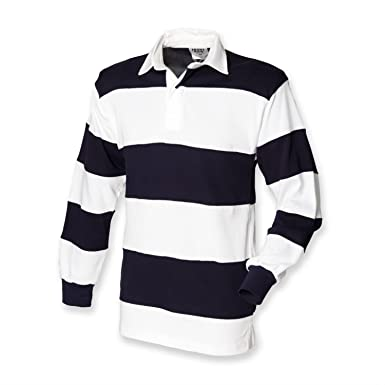 6b73e8a9 Front Row Mens Sewn Stripe Rugby Shirt: Amazon.co.uk: Clothing