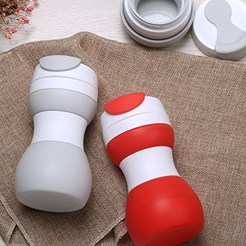 Silicone Collapsible Travel Mug, Foldable & Lightweight Travel Cup for Outdoor Camping Hiking - BPA Free (Red)