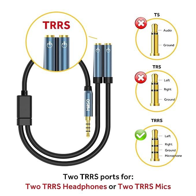 MillSO 3.5mm Kopfhörer Adapter Splitter - 4-polig 3,5mm Klinke Y Kabel on