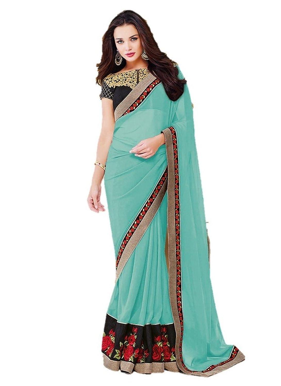 EthnicWear9 New Georgette Stylish Beautiful Bollywood Blue Saree Saris