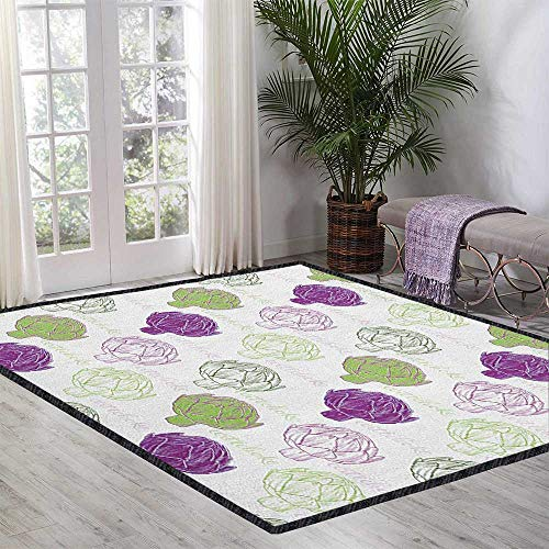Artichoke Colorful Area Rug,Sketch Style Vegetables Hand Drawn Style Exotic Tasty Healthy Food Waterproof and Easy Clean Lime Green and Purple 55