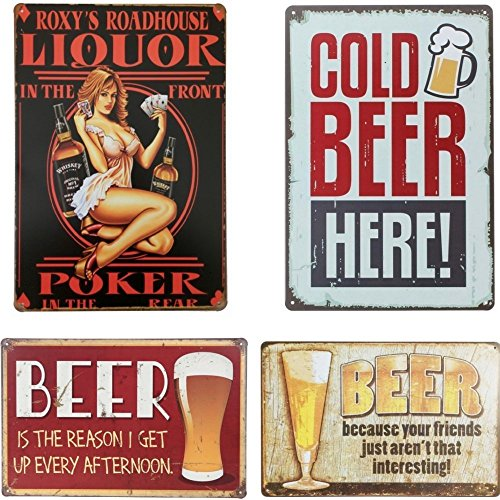 (88 store Metal Poster Tin Sign Wall Decor Beer Plate Kitchen Pub Bar Home Antique Plaque (4pcs))