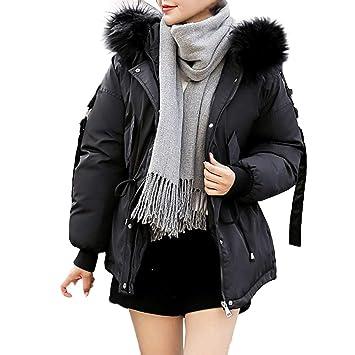 Abrigo corto de plumón con capucha para mujer de invierno cálido chaqueta casual acolchada de piel sintética cuello abrigos de manga larga algodón acolchado ...