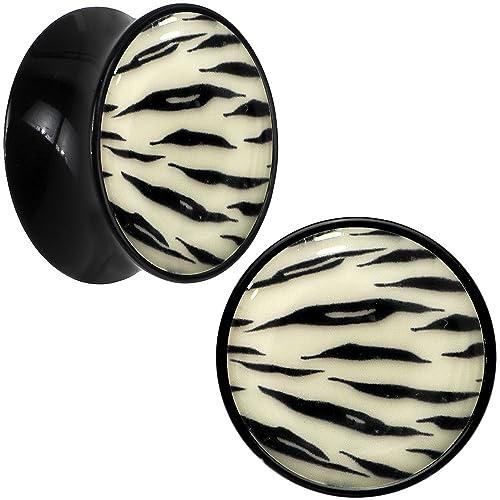 BodyCandy Acrílico Negro Tigre Blanco Estampado A Rayas Brilla en la Oscuridad Dilatador Par 20mm: Amazon.es: Joyería