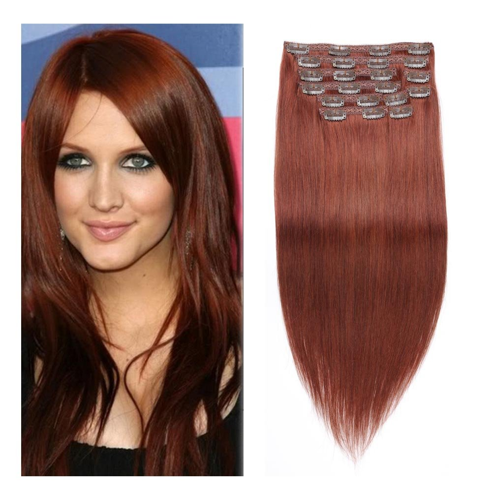 Best Hair Extensions Dark Auburn Clip In Hair Extensions Full Head