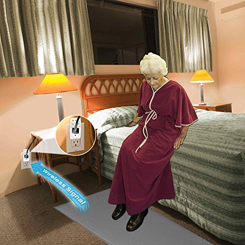 Smart Caregiver® Light Outlet with Cordless Grey Floor Mat – Turns on a light when they get up! by Smart Caregiver