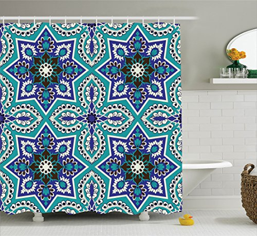 Ambesonne Arabian Decor Collection, Arabesque Pattern Traditional Islamic Art Geometric Decorative Persian Damask Art, Polyester Fabric Bathroom Shower Curtain, 84 Inches Extra Long, Cobalt Blue Teal - Persian Decorative Arts
