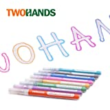 TWOHANDS Outline Markers,Glitter Paint Pens,Double line Metallic Markers,8 Assorted Colors,Great for writing and drawing…