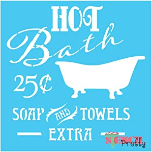 "Hot Bath Vintage Bathroom Stencil DIY Antique Sign Best Vinyl Large Stencils for Painting on Wood, Canvas, Wall, etc.-XS (7"" x 7"")