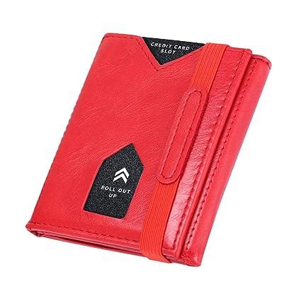 KOGOLIKE Cartera Pequeña de Piel para Hombre,RFID Billetera Cuero Hombre con Monedero, Tarjetas de Crédito Slim Wallet (Rojo)