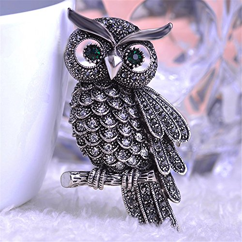 JewelBeauty Vintage Halloween Bridal Scarf Jewelry Royal Blue Rhinestone Night Owl Brooch Pin (Antique Silver)