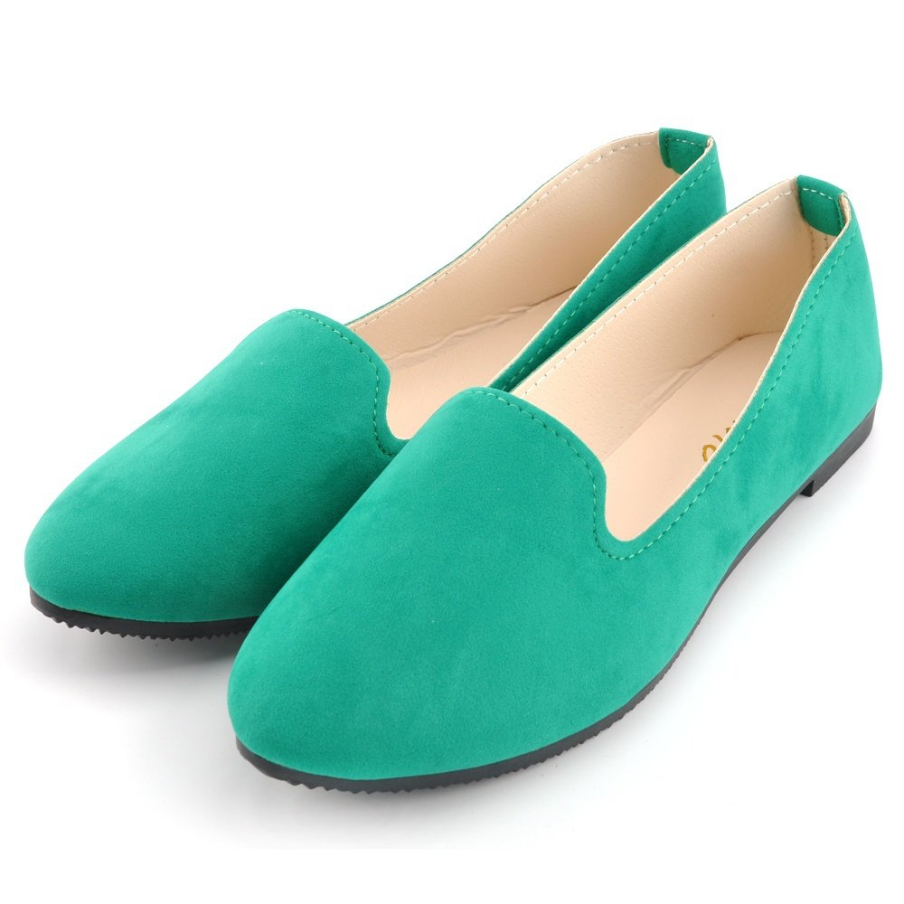 JOY DRAGON Women Ballet Light Faux Suede Low Heels Flats Candy Color Spring Summer Loafers Shoes Size 5-8 B07BHJTSBG 5 B(M) US|Green
