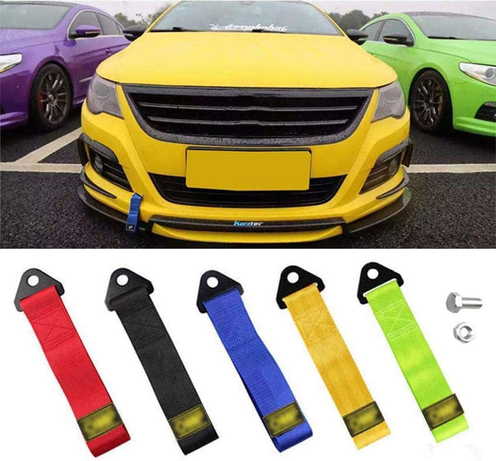 Tow Strap 5 PCS Racing Car Universal Bumper High Strength Nylon Tow Ropes Decoration Belt Universal Trailer Rope Front and Rear Bar Traction Belt 2 Inch Trailer Rope Strap Tow Professional Shackle