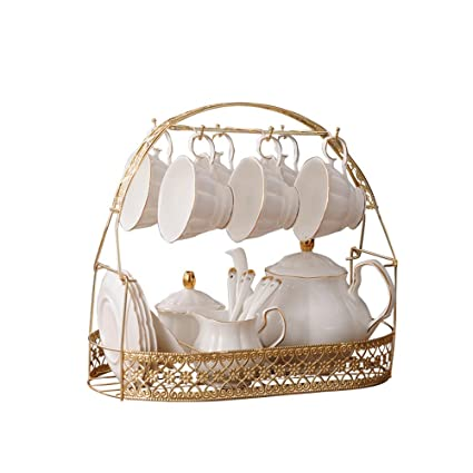 ufengke-ts 15 Pieces Simple White English Ceramic Tea Sets,Tea Pot,Bone  China Cups with Metal Holder Matching Spoons,Afternoon Tea Set Service  Coffee