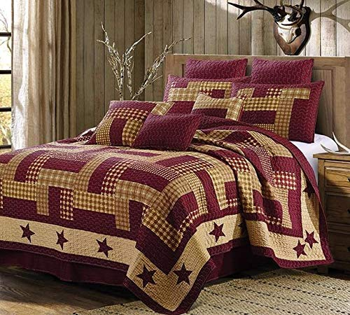 Virah Bella Homestead Red Patchwork Printed 3pc Full/Queen Quilt Set + Metal BARN - Full Bed Size Country