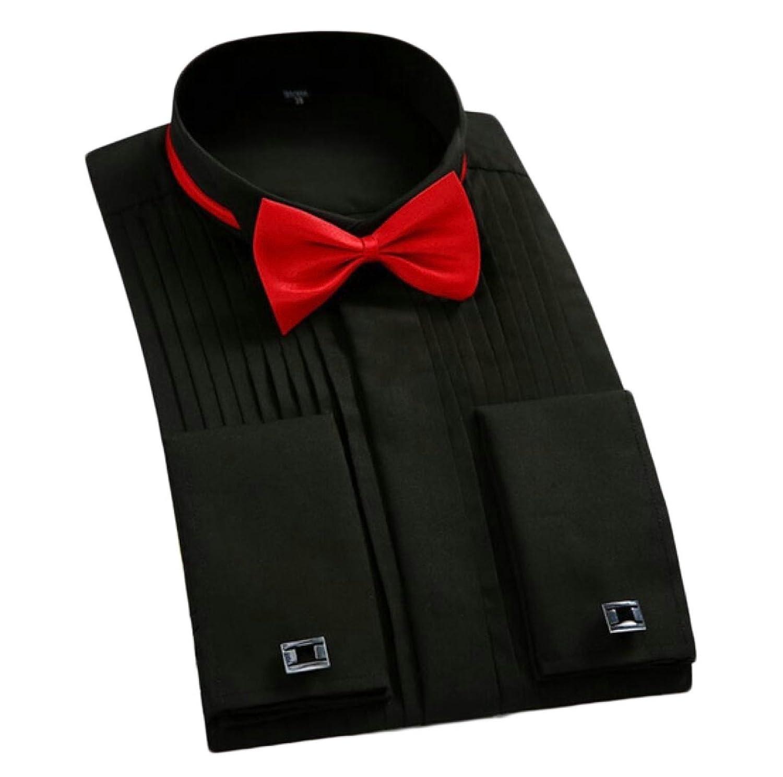 Keaac Mens Tuxedo Dress with Bow-Tie Wingtip Laydown Collar Button Down Shirt
