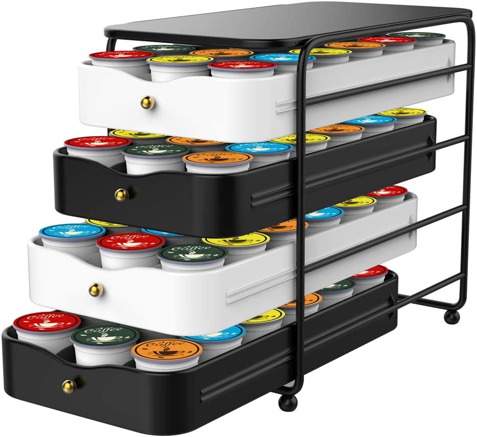Everie 4-Tier Coffee Pod Storage Holder Organizer Drawer for 72 K Cup Pods (Black and White)