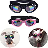 Sparklelife 2 Pairs Dog Goggles UV Protective Foldable Lenses Adjustable Strap Eye Wear Protection Waterproof Pet Sunglasses for Dogs