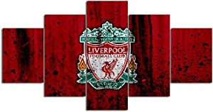 Liverpool Wall Art 5 Piece Canvas Paintings FC Football Club Picture Poster 26 Home Decor for Living Room Artwork Framed Ready to Hang-100x55cm