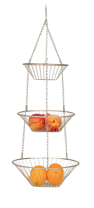 Merveilleux 3 Tier Satin Nickel Hanging Vegetable Basket