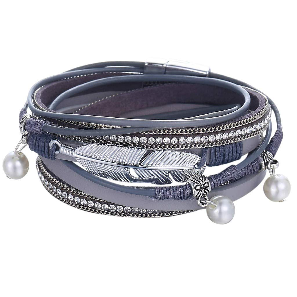 Goddesslili Braided Bracelet for Women Teen Girls Mom Multi-Layer Leather Wrap Cuff Bangle with Alloy Magnetic Vintage Retro Wedding Engagement Anniversary Jewelry Gift Under 5 Dollars
