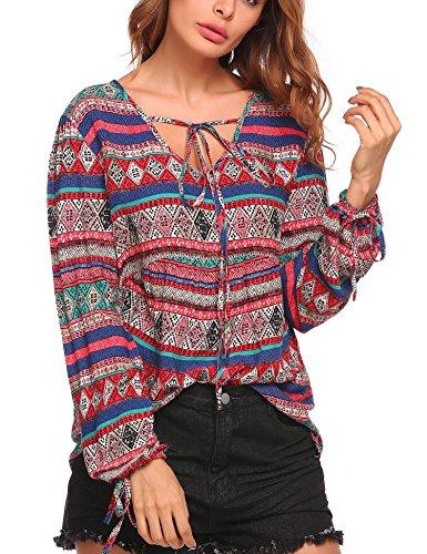 Zeagoo Women Boho Print Neck Tie Tunic Tops Long Sleeve Ethnic Style Ruffle Blouse Shirt