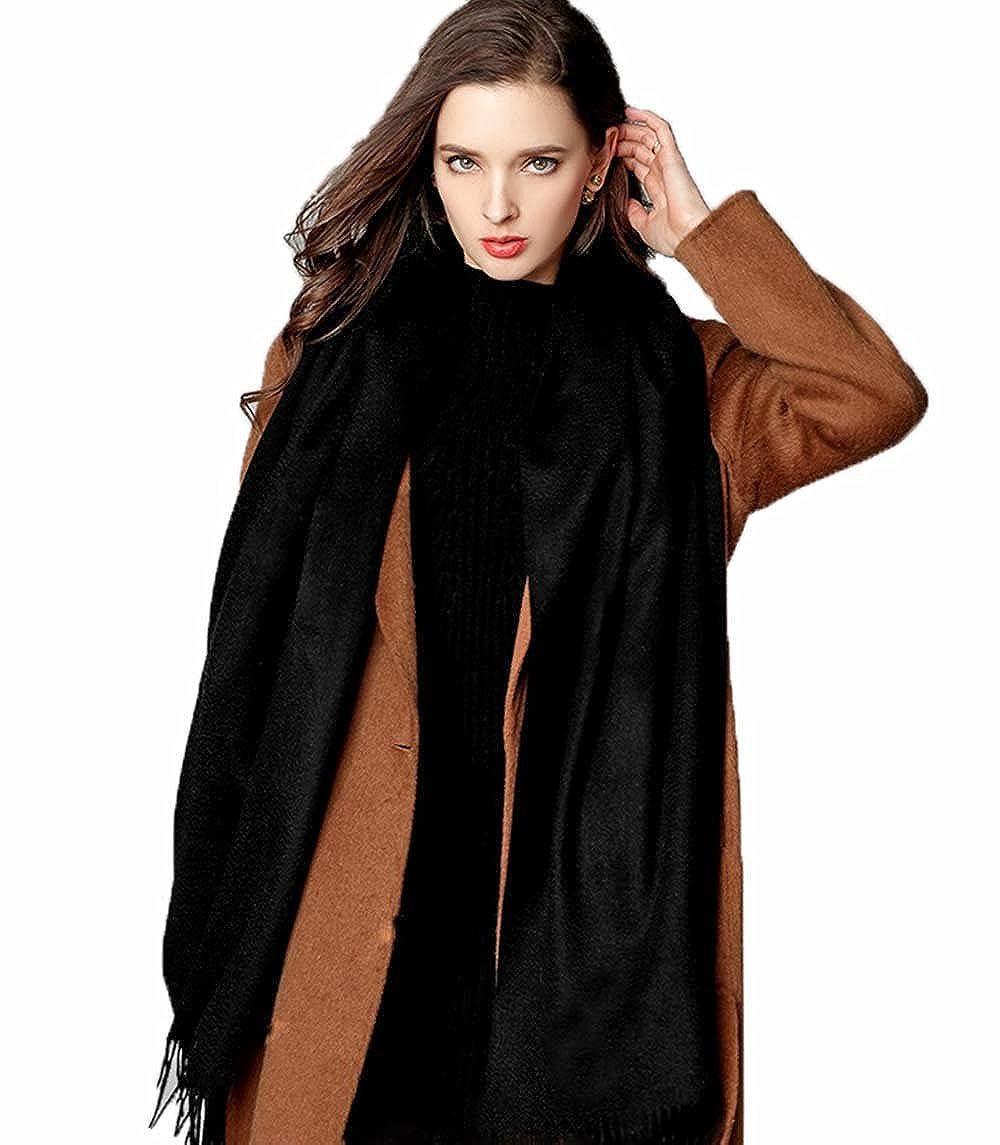 カシミア100% スカーフ マフラー ストール ネックウォーマー 大判 防寒対策 柔らかい 無地 180cm×70cm B07F1DWLRB ブラック ブラック