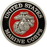 Indiana Metal Craft US Marine Corps Nickel Silver Lapel Pin with Enamel Color Fill .Made in USA.