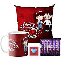 YaYa cafe Valentine Gifts Combo for Husband Wife Girlfriend Boyfriend Mug, Cushion Cover, 5 Dairy Milk Cadbury Chocolate I Love You Every Day You, with Coaster
