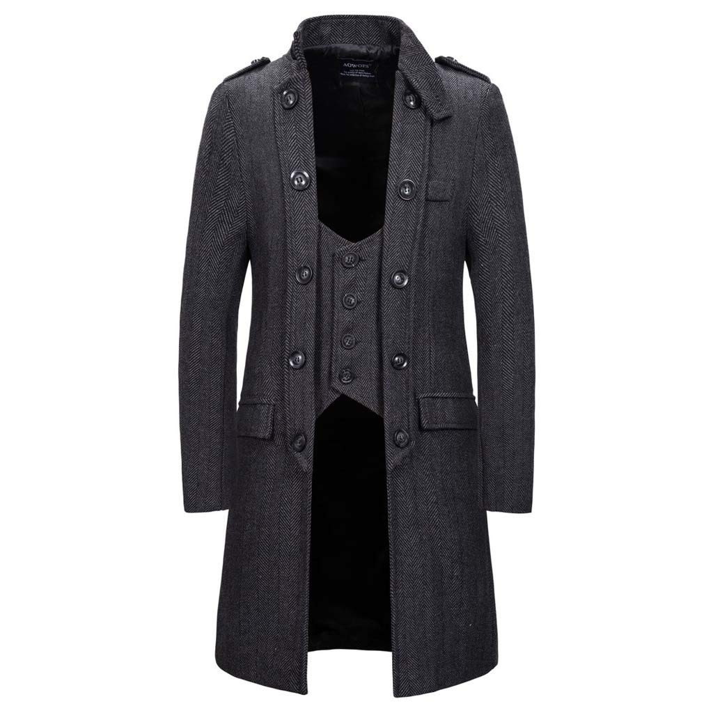 Botrong Men's Autumn Casual Trench Long Patchwork Color Trim Outwear Coat (Dark Gray,M) by Botrong