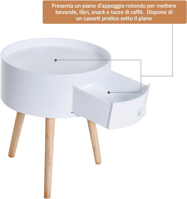 homcom Tavolino da Salotto Moderno con Cassetto Soggiorno Legno Ф38 /× 45cm Bianco