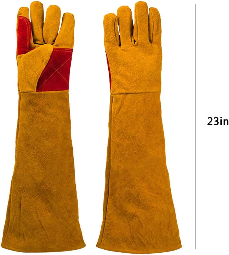 BBQ Gloves Extreme Heat Resistant 932/°F Cotton Lined Welding Gloves 23.6 Inch Safety Long Sleeve Arm Protector for Welder