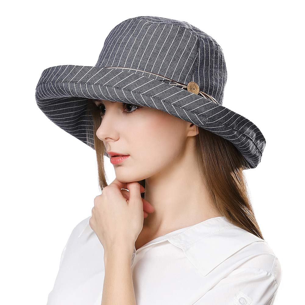 Fancet Womens Packable Wide Roll up Brim Sun Bucket Hat Safari Hiking Protection Fishing Bonnie UPF50 Navy